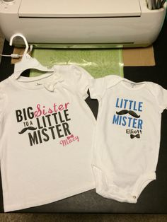 Big sister and Little mister matching shirts using iron-on vinyl and my Cricut Explore in Design Space.