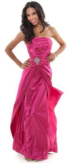 Long Strapless Fuchsia Bridesmaid Dress Prom Satin Rhinestone Pleated Bodice $99.99
