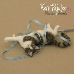 """Mini needle felted cat. VEGANIZE this, please! Art and creativity should NEVER support or condone animal cruelty and exploitation. Make sure your art/craft supplies aren't sourced from animals (such as """"wool"""" felt, mohair, angora or alpaca fur, silkworm thread, etc.) and that they reflect a true reverence for life. Always use animal-free alternatives. Be kind. Be fair. Be vegan."""