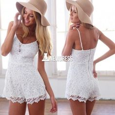 Stylish Lady Women's Casual Sexy Lace Sleeveless Straps Short Jumpsuit Romper