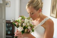 BG334 Soft pink and white lisianthus, tuberose, geraldton wax, David Austin roses and freesias