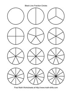 The Blackline Fraction Circles -- Small Unlabeled Math Worksheet from the Fractions Worksheets Page at Fractions For Kids, 3rd Grade Fractions, Teaching Fractions, Fractions Worksheets, Math Fractions, 4th Grade Math, Teaching Math, Equivalent Fractions, Dividing Fractions