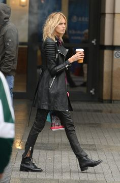 Anja Rubik in a devestating cool trench length moto coat / jacket