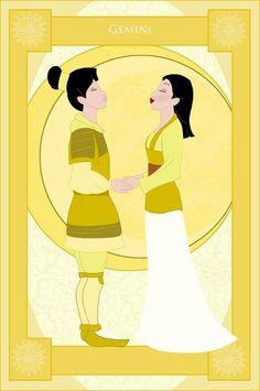 So mulan is gemini. hehe For more Disney Zodiac: Jasmine: [link] Rapunzel: [link] Cinderella: [link] Pocahontas: [link] Aurora: [link] Meg: [link] Tia. Disney Fan Art, Disney Nerd, Disney Love, Punk Disney, Disney Dream, Walt Disney, Gif Disney, Disney Magic, Disney Sign