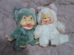"2 Vintage Nyamy Tpye Kitten Plush 7"" Made in Taiwan Monchhichi Monchichi Pal HTF"
