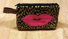 """LipSense distributors, purse, pouch, """"Baby sister"""" gold & black, sexy pink lips.... holds all you need by jewellgem on Etsy"""