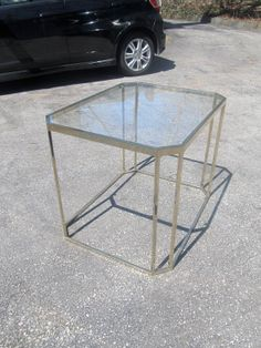 Milo Baughman for DIA Brass & Glass Side Table by RefineModern