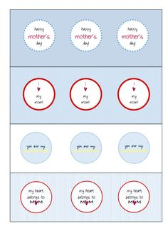 Tulip and Turnip: Freebie::Mother's Day Printable Cupcake Toppers/Circle Tags