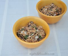 Farro with Spinach and Mushrooms.  A hearty meal perfect for those cold days.  Vegan.