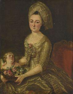 Ecole française du XVIIIe siècle. Portrait d'un d'une femme et d'Amour