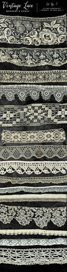15 large scale realistic vintage lace border or edge graphics. Great for digital scrapbooking, website/blog designers, jewelry makers, card and tag designers, and pretty much for any craft purpose you