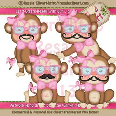 Mustache Monkey Girl  Clipart Digital Download by MaddieZee, $1.50