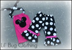 Minnie Mouse capri and halter top outfit black white jumbo dot. Pink Minnie, Mickey Minnie Mouse, Bug Clothing, Boutique Clothing, Minnie Mouse First Birthday, 2nd Birthday, Birthday Ideas, Little Girl Dresses, Girls Dresses