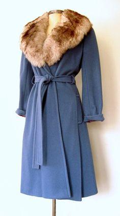PERIWINKLE BLUE ★ 1960s Fox Fur Collar & Wool Swing Coat: Lolavintage.com