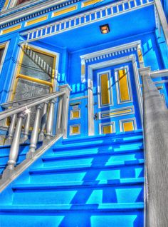 Castro Street Blue Victorian House Entrance HDR by Walker Dukes, via Flickr