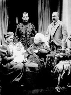 Queen Victoria with the Prince of Wales and the Tsar and Tsaritsa of Russia and their new baby, Grand Duchess Olga
