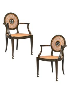 Pair of Italian Caned Chairs with Pierced Backs