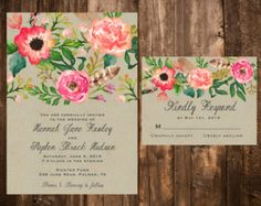Whimsical Floral Wedding Invitation Set Bright & by papernpeonies