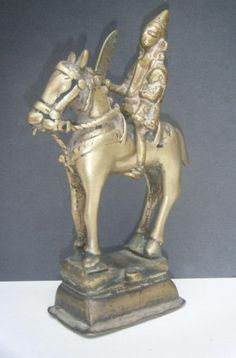 Asian Antiques Original Antique Traditional Indian Ritual Brass Horse Of God Shiva Rare #2