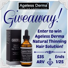Low entry #giveaway! Enter to #win #AgelessDerma Natural Thinning Hair Solution! $35 ARV; ends January 25 (11:59pm).