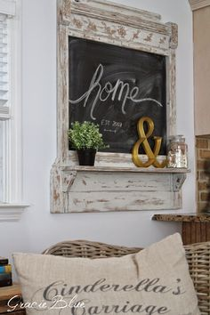 There& no better feeling in the world than completing a project that was conceived in your brain and finally brought to life. This is exac. Repurposed Furniture, Painted Furniture, Gray Owl Paint, Antique Mantel, Diy Craft Projects, Pallet Projects, Chalkboard Art, French Country Decorating, Home Decor Inspiration