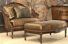 Leopard print settee. Luxury fine home furnishings and high quality furniture for any home decor.