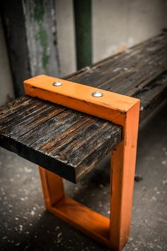 Industrial Modern Bench by AntonMakaDesigns on Etsy, $500.00
