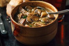 A savory steak and ale soup with tender mushrooms—flavorful, comforting and nourishing!