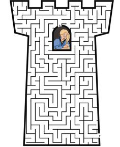 Tangled Tower Coloring Pages | Guide Rapunzel from the tower window through the tower maze to the ..