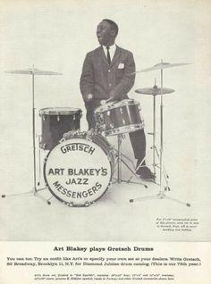 "Art Blakely * Jazz Messengers * Gretsch Drums AD ""Down Beat"" 1958"