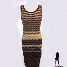 Sleeveless Chevron Metallic Sweater Dress S New with tag from Off Fifth-Black Label-Stunning Chevron design beige, black, metallic skeeveless sweater dress. 43% viscose, 30% polyester, 21% nylon, 6% metallic. Stretchy knit. Size S Saks Fifth Avenue Dresses
