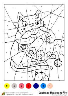 A colorier, un jeu qui représente un chat tenant une grande boule de Noël.