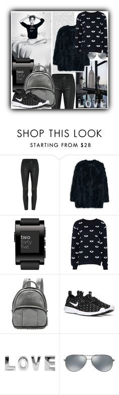 """#998@"" by elena-gienko ❤ liked on Polyvore featuring Oris, MANGO, Pebble, Alexander Wang, NIKE, Ray-Ban, Winter and winterstyle"