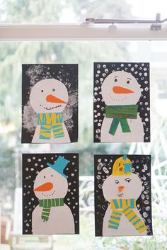 Easy snowmen on our window winter crafts for kids, winter art projects Winter Art Projects, Winter Crafts For Kids, Crafts For Teens, Projects For Kids, Kids Crafts, Art For Kids, Craft Projects, Arts And Crafts, Craft Ideas
