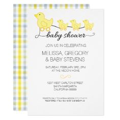Yellow Duck Baby Shower Invitation - baby gifts giftidea diy unique cute