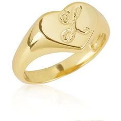 Argento Vivo Gold L Initial Heart Signet Ring In 18K Yellow Gold Over... ($75) ❤ liked on Polyvore featuring jewelry, rings, gold, sterling silver rings, yellow gold rings, yellow gold heart ring, sterling silver signet ring and gold ring