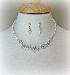 Swarovski Pearl Necklace and Earrings Bridal Set by TheRedMagnolia