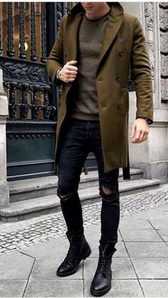 Perfect winter outfit ideas men - boots, overcoat denim