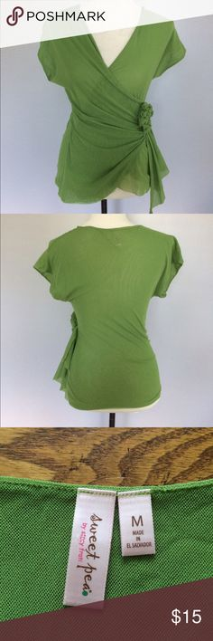 Sweet Pea Sheer Flower V-Neck Green Shirt It is definitely Sheer, so it would need a Tank Top underneath. Size medium. There are no flaws. Sweet Pea Tops Blouses