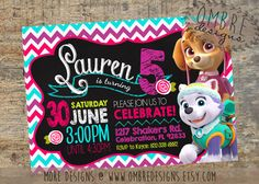 Perfect for a little girls' summer Paw Patrol Party. Skye Invitation, Everest, Paw Patrol Invitation