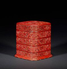 A Ming four-tiered red lacquer box and cover. 15th/16th century