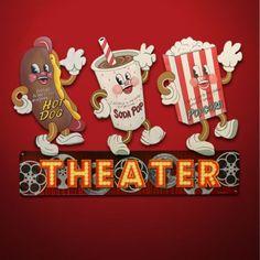 Signs Movie | Retro Movie Theater Snack Signs - Vintage Movie Graphics - Home ...