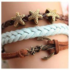 Anchor, and stars bracelet