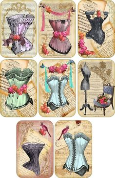 Vintage Inspired 8 Corset Fashion Scrapbooking Craft Tags with or Without Ribbon | eBay