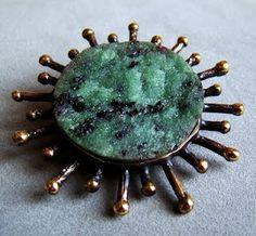 Reino Saastamoinen ~vintage bronze and zoisite brooch, 1960's. #Finland
