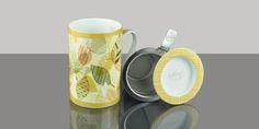 Mug Cylinder Tropical Leaves Yellow