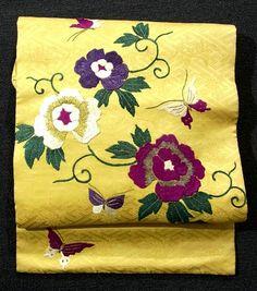Embroidered Flower & Butterfly Pattern Vintage Nagoya Obi