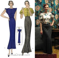 D30-1379; 1934 Day Dress & Dinner Ensemble 15-piece hand-drafted pattern originally by Simplicity for the two-piece day ensemble in shorter skirt and blouse with epaulets and plain neck line or the 'S