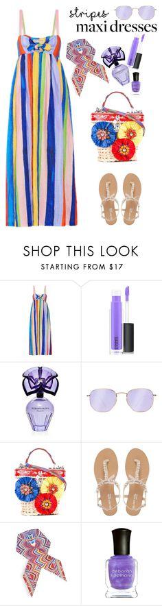 """Summer Style :Striped Maxi Dress"" by ellie366 ❤ liked on Polyvore featuring Mara Hoffman, MAC Cosmetics, BCBGMAXAZRIA, Ray-Ban, Dolce&Gabbana, Head Over Heels by Dune, Missoni, Deborah Lippmann, stripes and dresses"