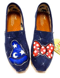 His and Hers Mickey and Minnie Custom Hand Painted Disney Toms. $95.00, via Etsy.